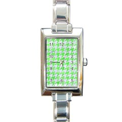Houndstooth1 White Marble & Green Watercolor Rectangle Italian Charm Watch by trendistuff