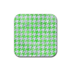 Houndstooth1 White Marble & Green Watercolor Rubber Square Coaster (4 Pack)  by trendistuff