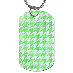 Houndstooth1 White Marble & Green Watercolor Dog Tag (two Sides) by trendistuff