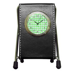 Houndstooth1 White Marble & Green Watercolor Pen Holder Desk Clock by trendistuff