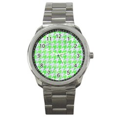 Houndstooth1 White Marble & Green Watercolor Sport Metal Watch