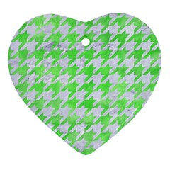 Houndstooth1 White Marble & Green Watercolor Heart Ornament (two Sides) by trendistuff