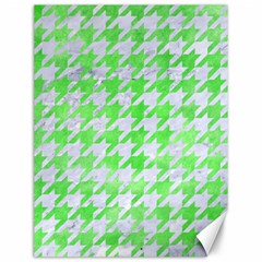 Houndstooth1 White Marble & Green Watercolor Canvas 12  X 16   by trendistuff