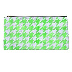 Houndstooth1 White Marble & Green Watercolor Pencil Cases by trendistuff