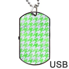 Houndstooth1 White Marble & Green Watercolor Dog Tag Usb Flash (one Side) by trendistuff