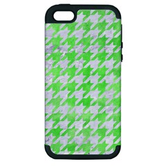 Houndstooth1 White Marble & Green Watercolor Apple Iphone 5 Hardshell Case (pc+silicone) by trendistuff