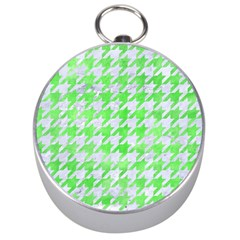 Houndstooth1 White Marble & Green Watercolor Silver Compasses by trendistuff
