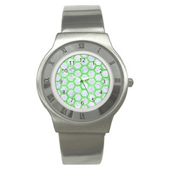 Hexagon2 White Marble & Green Watercolor (r) Stainless Steel Watch