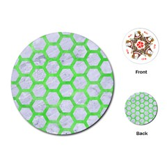 Hexagon2 White Marble & Green Watercolor (r) Playing Cards (round)  by trendistuff