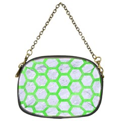 Hexagon2 White Marble & Green Watercolor (r) Chain Purses (one Side)  by trendistuff