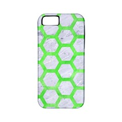 Hexagon2 White Marble & Green Watercolor (r) Apple Iphone 5 Classic Hardshell Case (pc+silicone) by trendistuff