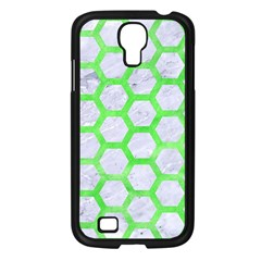 Hexagon2 White Marble & Green Watercolor (r) Samsung Galaxy S4 I9500/ I9505 Case (black) by trendistuff