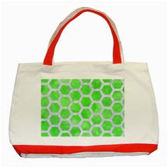 Hexagon2 White Marble & Green Watercolor Classic Tote Bag (red) by trendistuff