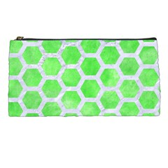 Hexagon2 White Marble & Green Watercolor Pencil Cases by trendistuff