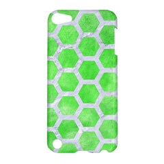 Hexagon2 White Marble & Green Watercolor Apple Ipod Touch 5 Hardshell Case by trendistuff
