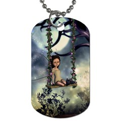 Cute Little Fairy With Kitten On A Swing Dog Tag (two Sides) by FantasyWorld7