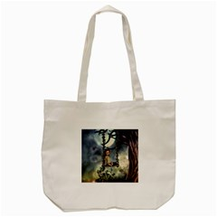 Cute Little Fairy With Kitten On A Swing Tote Bag (cream) by FantasyWorld7