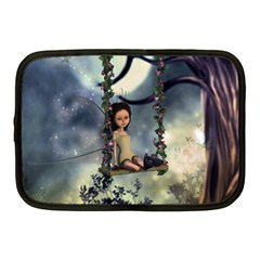 Cute Little Fairy With Kitten On A Swing Netbook Case (medium)  by FantasyWorld7