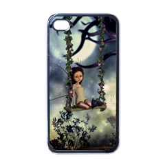 Cute Little Fairy With Kitten On A Swing Apple Iphone 4 Case (black) by FantasyWorld7