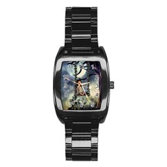 Cute Little Fairy With Kitten On A Swing Stainless Steel Barrel Watch by FantasyWorld7