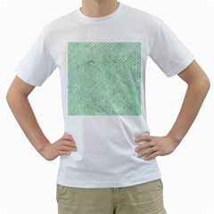 Hexagon1 White Marble & Green Watercolor (r) Men s T Shirt (white) (two Sided)
