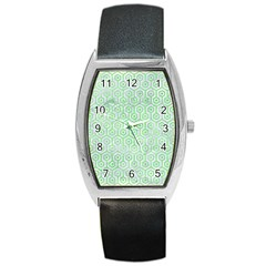 Hexagon1 White Marble & Green Watercolor (r) Barrel Style Metal Watch by trendistuff
