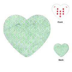 Hexagon1 White Marble & Green Watercolor (r) Playing Cards (heart)  by trendistuff
