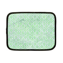 Hexagon1 White Marble & Green Watercolor (r) Netbook Case (small)  by trendistuff