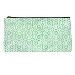 Hexagon1 White Marble & Green Watercolor (r) Pencil Cases by trendistuff