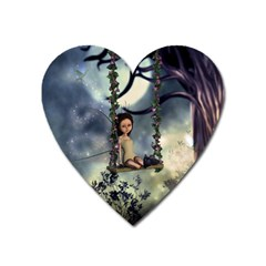 Cute Little Fairy With Kitten On A Swing Heart Magnet by FantasyWorld7