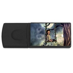 Cute Little Fairy With Kitten On A Swing Rectangular Usb Flash Drive by FantasyWorld7