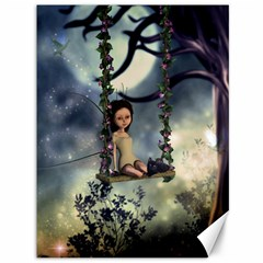 Cute Little Fairy With Kitten On A Swing Canvas 36  X 48   by FantasyWorld7