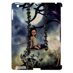 Cute Little Fairy With Kitten On A Swing Apple Ipad 3/4 Hardshell Case (compatible With Smart Cover) by FantasyWorld7