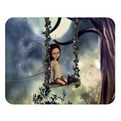 Cute Little Fairy With Kitten On A Swing Double Sided Flano Blanket (large)
