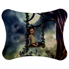 Cute Little Fairy With Kitten On A Swing Jigsaw Puzzle Photo Stand (bow) by FantasyWorld7