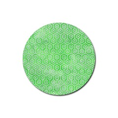 Hexagon1 White Marble & Green Watercolor Rubber Round Coaster (4 Pack)  by trendistuff