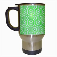 Hexagon1 White Marble & Green Watercolor Travel Mugs (white) by trendistuff