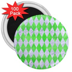 Diamond1 White Marble & Green Watercolor 3  Magnets (100 Pack)
