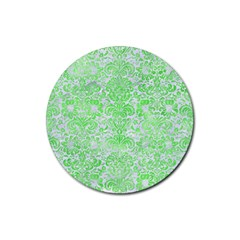 Damask2 White Marble & Green Watercolor (r) Rubber Round Coaster (4 Pack)  by trendistuff