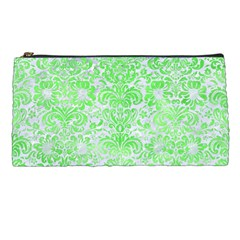 Damask2 White Marble & Green Watercolor (r) Pencil Cases by trendistuff
