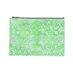 Damask2 White Marble & Green Watercolor (r) Cosmetic Bag (large) by trendistuff