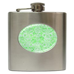 Damask2 White Marble & Green Watercolor Hip Flask (6 Oz) by trendistuff