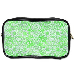 Damask2 White Marble & Green Watercolor Toiletries Bags by trendistuff