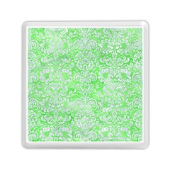 Damask2 White Marble & Green Watercolor Memory Card Reader (square) by trendistuff