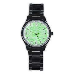 Damask2 White Marble & Green Watercolor Stainless Steel Round Watch by trendistuff