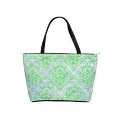 Damask1 White Marble & Green Watercolor (r) Shoulder Handbags by trendistuff