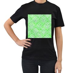 Damask1 White Marble & Green Watercolor Women s T Shirt (black) (two Sided)