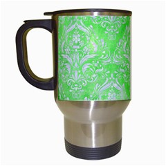Damask1 White Marble & Green Watercolor Travel Mugs (white) by trendistuff