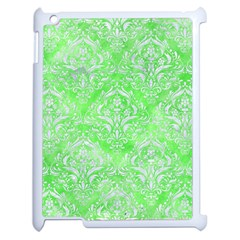 Damask1 White Marble & Green Watercolor Apple Ipad 2 Case (white) by trendistuff