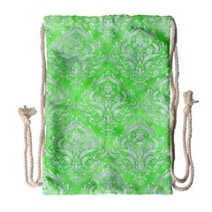 Damask1 White Marble & Green Watercolor Drawstring Bag (large) by trendistuff